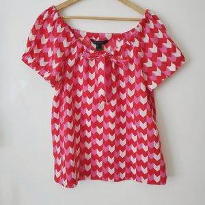 MARC BY MARC JACOBS Scoop Neck Top Geo Red Size L
